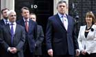 Gordon Brown and the cabinet outside downing street as the election date is announced