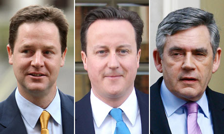 Nick Clegg, David Cameron and Gordon Brown.
