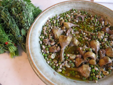 Slow cooked peas, artichokes and broad beans with sweet herbs and ...