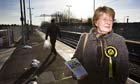 SNP candidiate Lis Bardell campaigning at Uphall Station Livingston.