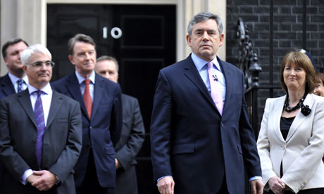 Gordon Brown addresses the press outside No 10