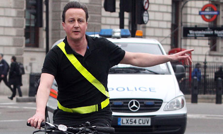 David Cameron cycling without a helmet on 7 April 2010.