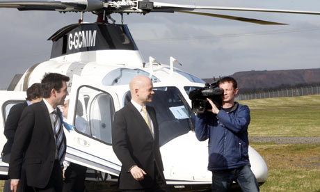 William Hague arrives by helicopter for some campaigning in Edinburgh on 8 April 2010.