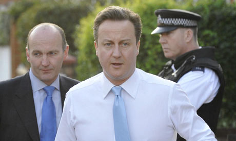David Cameron setting off from his home on 9 April 2010.