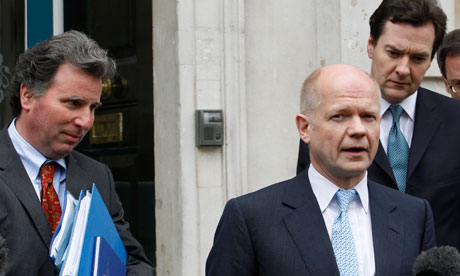 Oliver Letwin, William Hague and George Osborne arrive to speak to the Lib Dems on 11 May 2010.
