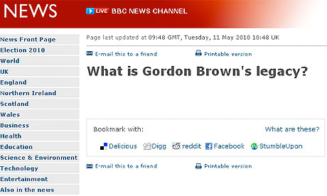 Screengrab of BBC on Brown's legacy