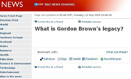 Screengrab of BBC on Brown's legacy