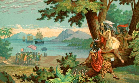 Illustration of Christopher Columbus Arriving in the New World by T. Sinclair