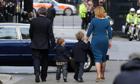 Gordon and Sarah Brown and their two sons leave Downing Street after Mr Brown's resignation