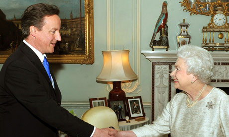 The Queen greets David Cameron at Buckingham Palace in an audience to invite him to be PM