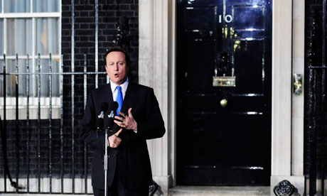 David Cameron makes his first speech as prime minister, outside 10 Downing Street on 11 May 2010.