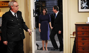 David and Samantha Cameron enter 10 Downing Stree