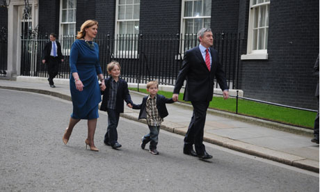 Gordon Brown leaves Downing St with his family.
