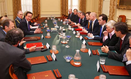 The first meeting of the national security council in the cabinet room