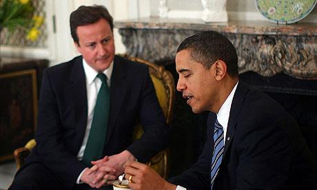 President Obama Greets David Cameron At The US Ambassador's Residence