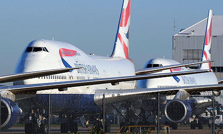 British Airways planes parked at Heathrow airport