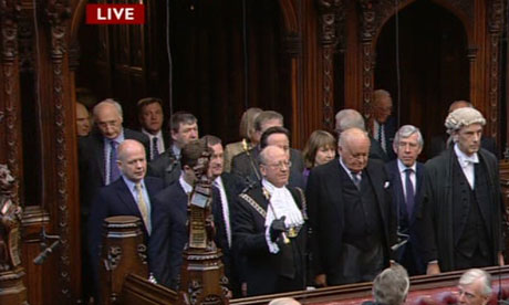 William Hague, Nick Clegg, David Cameron, Harriet Harman and Jack Straw at the opening of parliament