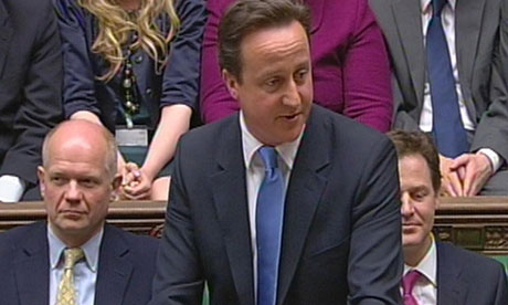 David Cameron in the Commons for the first time as prime minister with William Hague, Nick Clegg