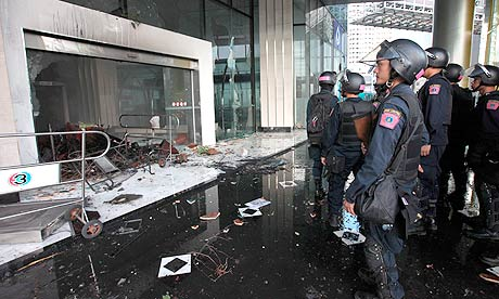Channel 3 TV station building after it was set on fire by redshirt protesters in Bangkok, Thailand