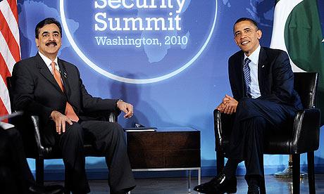 Barack Obama with the Pakistani prime minister, Yousuf Raza Gilani