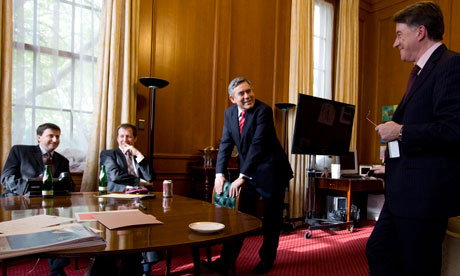 Gordon Brown with Douglas Alexander, Alastair Campbell, Peter Mandelson and Ed  Balls