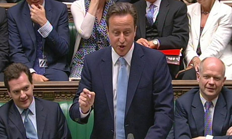 George Osborne, David Cameron and William Hague in the Commons after the state opening of parliament
