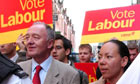 Oona King and Ken Livingstone campaigning in Brick Lane during the 2005 election.