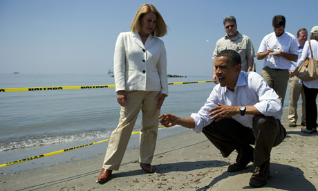 US president Barack Obama in Louisiana