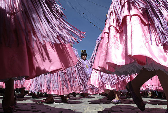 24 hours in pictures: La Paz, Bolivia: Dancers of the Morenada group