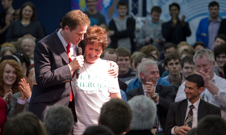 Nick Clegg, pictured in Liverpool with Kay Cummins, who has leukaemia