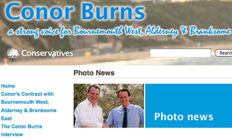 A screengrab from Conor Burns's website, showing him with David Cameron.