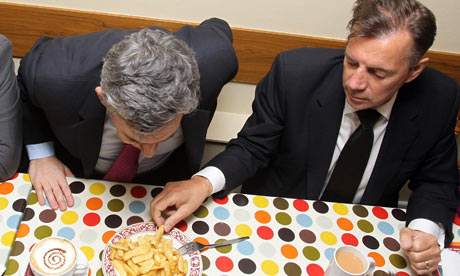 Gordon Brown shares a plate of chips with Duncan Bannatyne