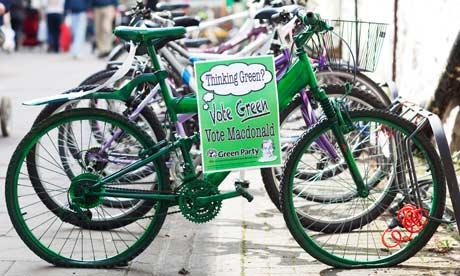 Green party bicycle