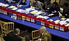 Votes are counted for the Westminster constituencies at the Queen Mother sports centre in London