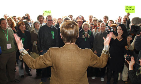 Caroline Lucas addresses a jubilant crowd after she was named Britain's first Green party MP
