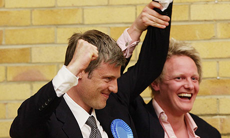 Zac Goldsmith, left, celebrates winning Richmond Park