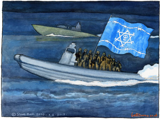 Israeli troops confront flotilla activists - A Steve Bell Cartoon