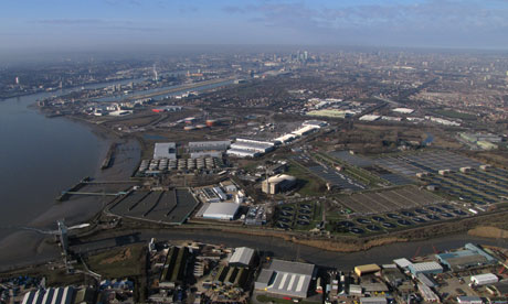 Aerial view of Beckton, east London including the Thames Water desalination plant.