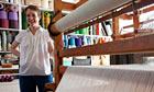 Weave designer Eleanor Pritchard weaving in her south London studio.