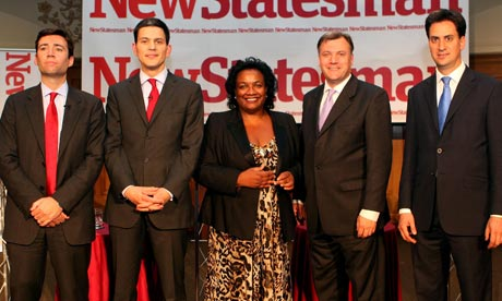 Andy Burnham, David Miliband, Diane Abbott, Ed Balls and Ed Miliband at a debate on 9 June 2010.