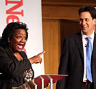 Diane Abbott and Ed Miliband at a Labour leadership debate on 9 June 2010.