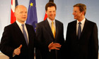 William Hague, Nick Clegg and Guido Westerwelle in Berlin on 10 June 2010.