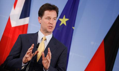 Nick Clegg speaking German in Germany last week (Photo: Guardian)