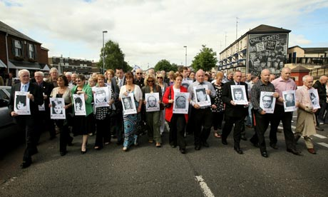 Families of the victims of the Bloody Sunday shootings march from the Bogside area.