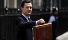 George Osborne holds Disraeli's original budget box before delivering his first budget 22 June 2010