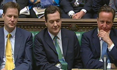 Nick Clegg, George Osborne and David Cameron in the Commons on budget day, 22 June 2010.