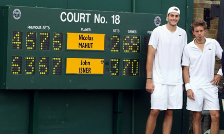 John Isner and Nicolas Mahut after their Wimbledon match