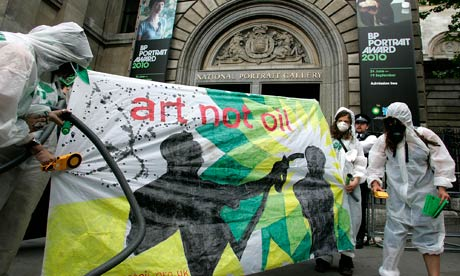 'Greenwash Guerrillas' protest outside National Portrait Gallery