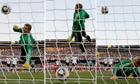 German goalkeeper Manuel Neuer watches as Frank Lampard's shot bounces behind the line