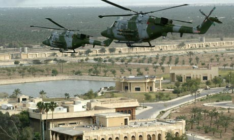 British helicopters fly over Basra, southern Iraq, in April 2003.